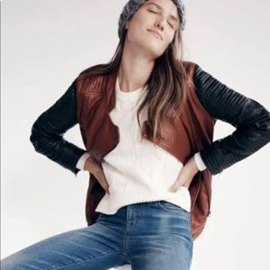 Madewell Two-toned Brown and Black Motorcycle Jacket+Soft Leather+Leather Coat